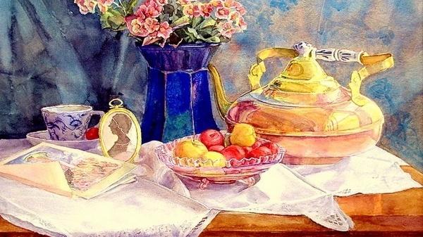 伊朗画家的水彩风景画